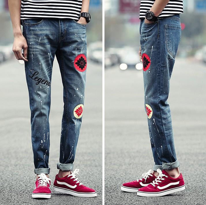 2016 New Men Denim Jeans Pencil Pants Trousers Men's Casual Fashion Slim Fit Large Size Outwear Long Denim Pants Trousers Hombre