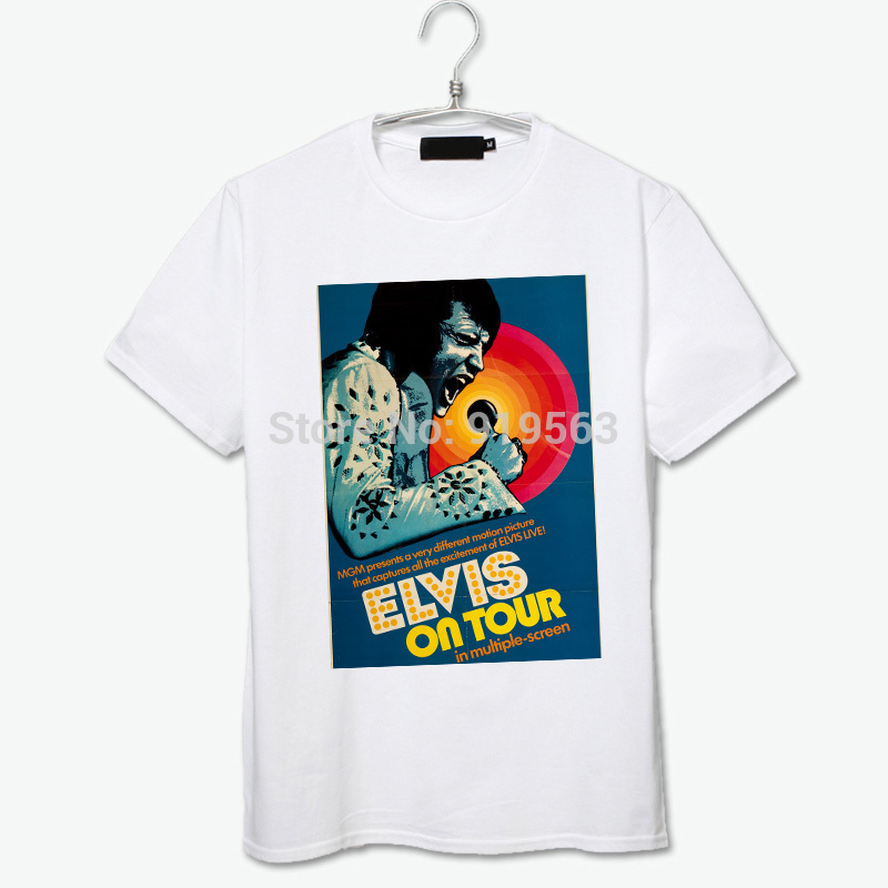 Elvis Presley on tour in mutiple screen movie poster printing tee shirt(China (Mainland))