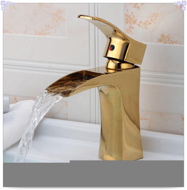 Frete grátis Antique ouro latão pia do banheiro bacia torneira de lavatório d -> Pia Banheiro Bacia