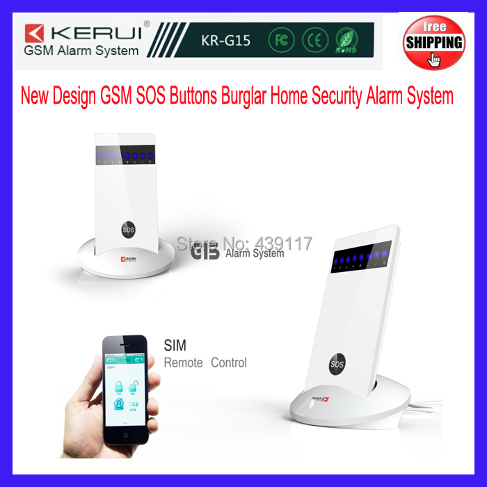 Free shipping Home Wireless GSM SOS Buttons Security Alarm Burglar Alarm System KR-G15 for Remote control by smart mobile APP(China (Mainland))
