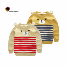 New Children Clothing Boys Autumn and  Spring Terry Cotton  Long-sleeved Bear Design Colorful Striped Children Sweatershirt(China (Mainland))