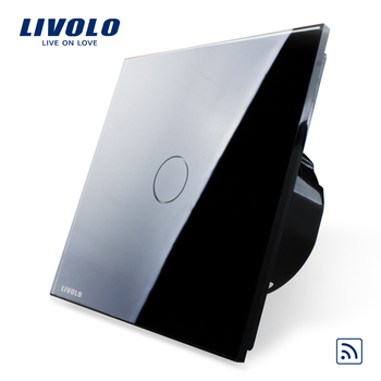 Free Shipping, Livolo EU Standard Remote Switch, VL-C701R-12,Black Crystal Glass Panel, 110~250V Wall Light Remote&Touch Switch
