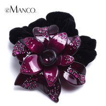 Big resin flower creative design hairbands for women 2016 eManco new charming crystal inlaid cloth hair accessories PT01074(China (Mainland))