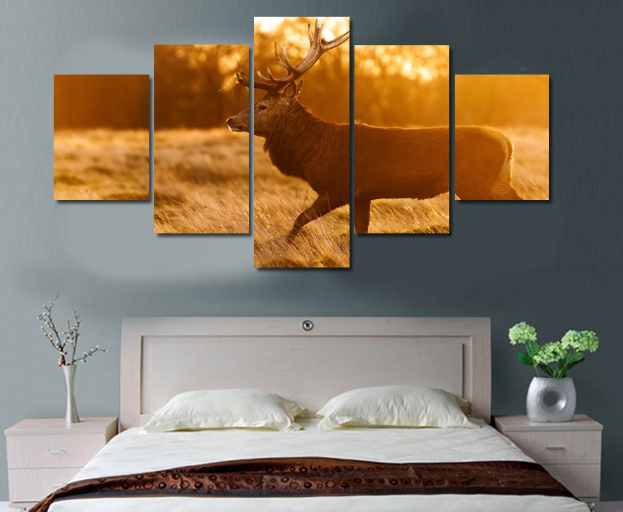 5 pcs framed printed deer forest painting on canvas room for 12x16 living room ideas