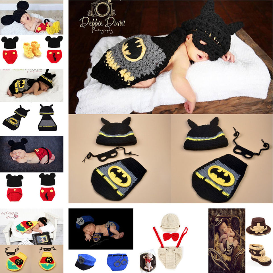 Hot Sale Photography Props newborn baby Knitted Costume Crochet Newborn Batman photo prop , super hero Hat cape Set MZS-16002(China (Mainland))
