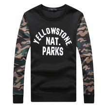 New 2016 Men's Hoodies Camouflage Sleeves Splice Casual Sweatshirt Fashion Capless Jacket Men Hip Hop Sportswear Size:M-5XL 991(China (Mainland))