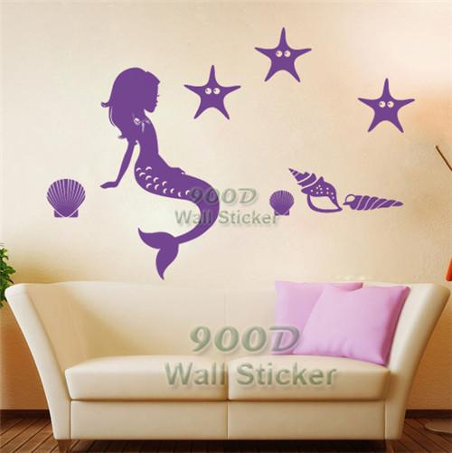 Diy Mermaid Wall Decor : Wall stickers decals cartoon mermaid home decoration