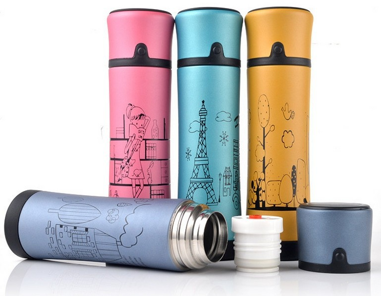 Free shipping 2014 new stylish 500 ml thermos mug keep temperature for 12 hours thermal cup vacuum flask bottle drinkware(China (Mainland))
