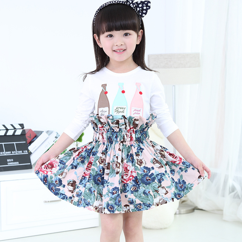 NEW Arrival! 3-10 yrs kids skirts Korean version top quality Floral Print girls Skirt Princess skirts baby girl clothes(China (Mainland))