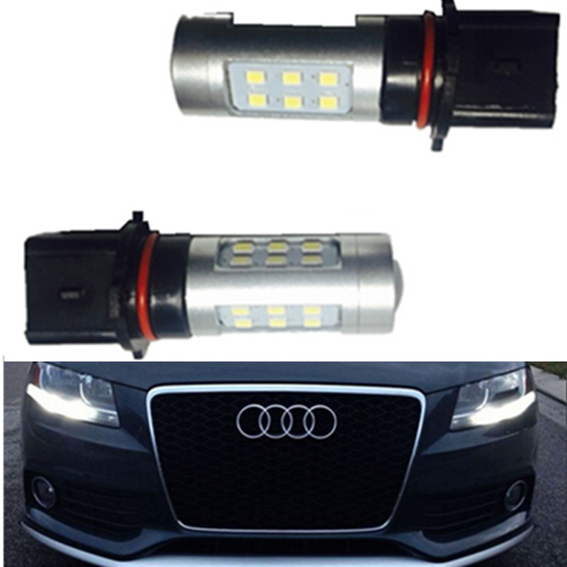 2x Xenon White P13W CREE LED Bulbs Daytime Running Lights DRL For 2008-12 Audi B8 model A4 or S4 with halogen headlight trims(China (Mainland))