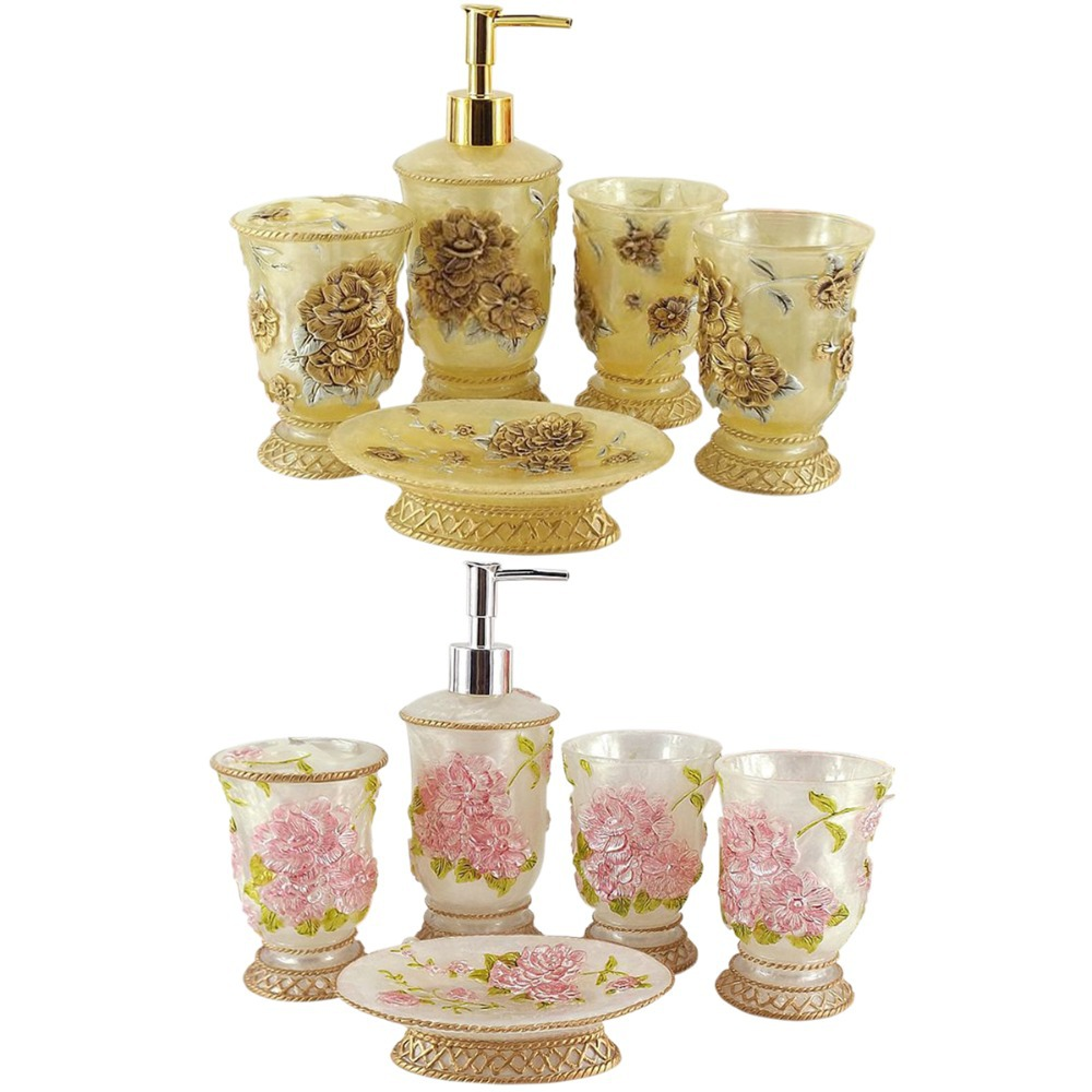 High quality art gift floral drawing bathroom set pink for Bathroom ornaments accessories