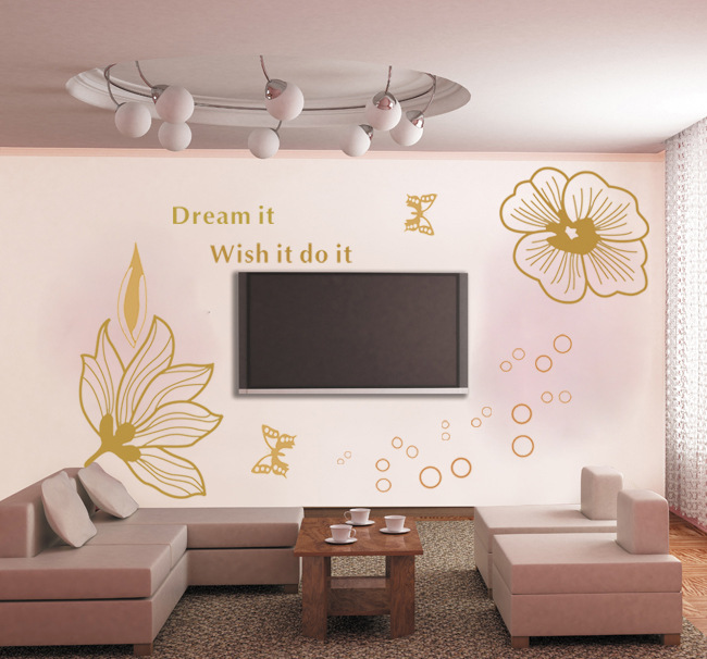 Korea DIY TV background wall stickers wholesale decorative stickers Diewu AY875 bedside environmental protection PVC(China (Mainland))