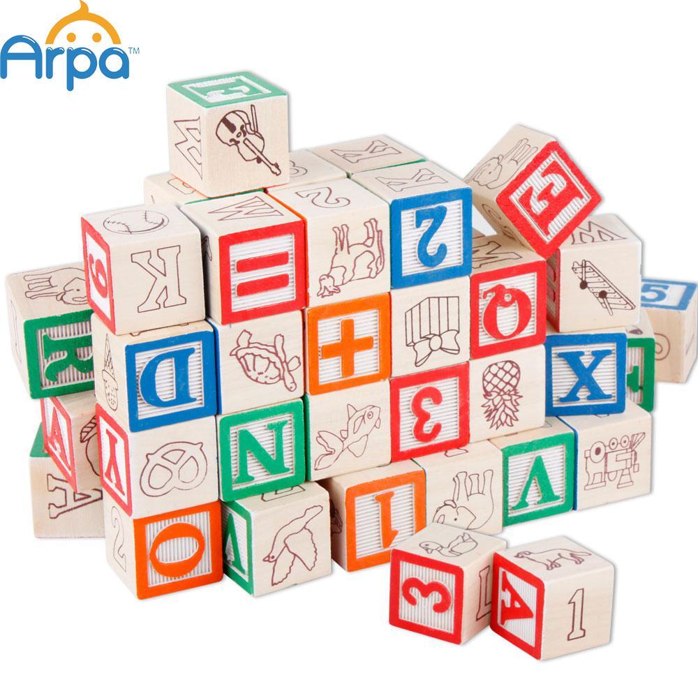 Arpa Deluxe 50-piece Wooden ABC/123 Blocks Set Children / Kids Toy / Game(China (Mainland))
