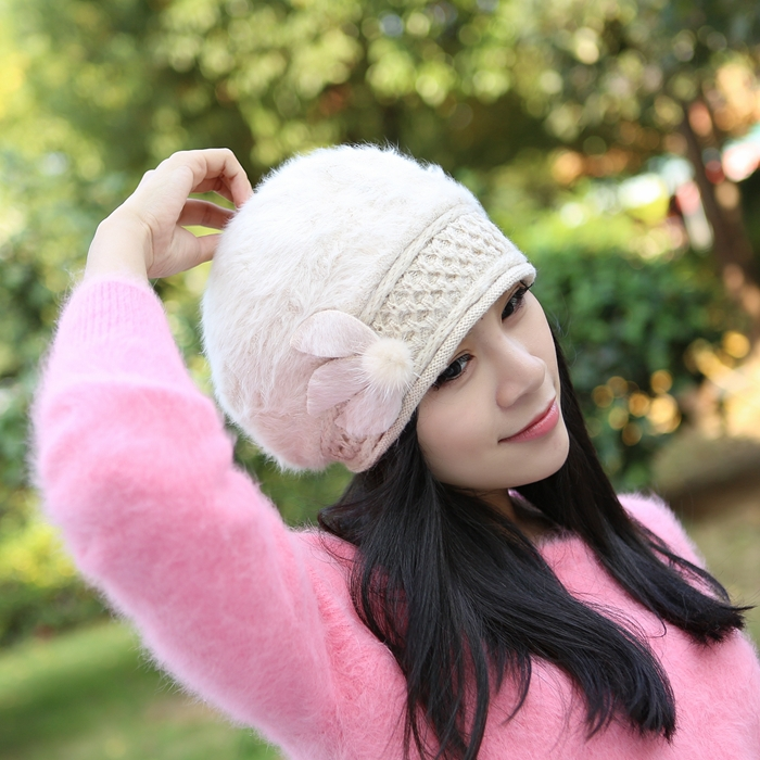Winter hat female Korean version lovely ladies fashion millinery winter autumn rabbit fur beret new - The real shoe store