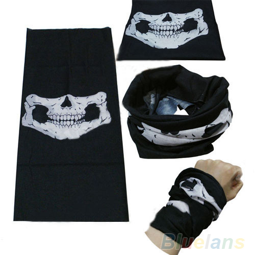 Skull Bandana Bike Motorcycle Helmet Neck Face Mask Paintball Ski Sport Headband 01R5 48IO