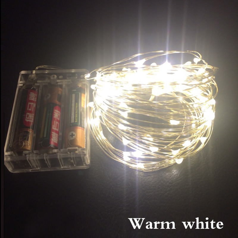 5M 50LED LED String Lights Outdoor Christmas Fairy Lights Warm White Silver Wire LED Starry Lights battery Wedding Decoration(China (Mainland))
