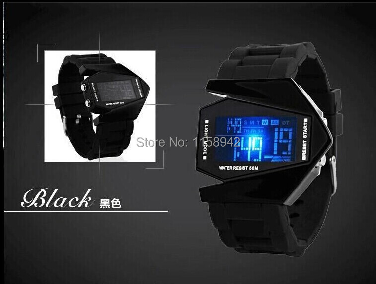 free shipping Silicone LED Aircraft watches Plane Digital watch Blue Light Bomb Watch men sports watches 2014 style  2pcs<br><br>Aliexpress