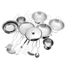 Stainless Steel Kitchen Cooking Utensils Pots Pans Food Gift Miniature Kitchen Cook Tools Simulation Play House Toys(China (Mainland))