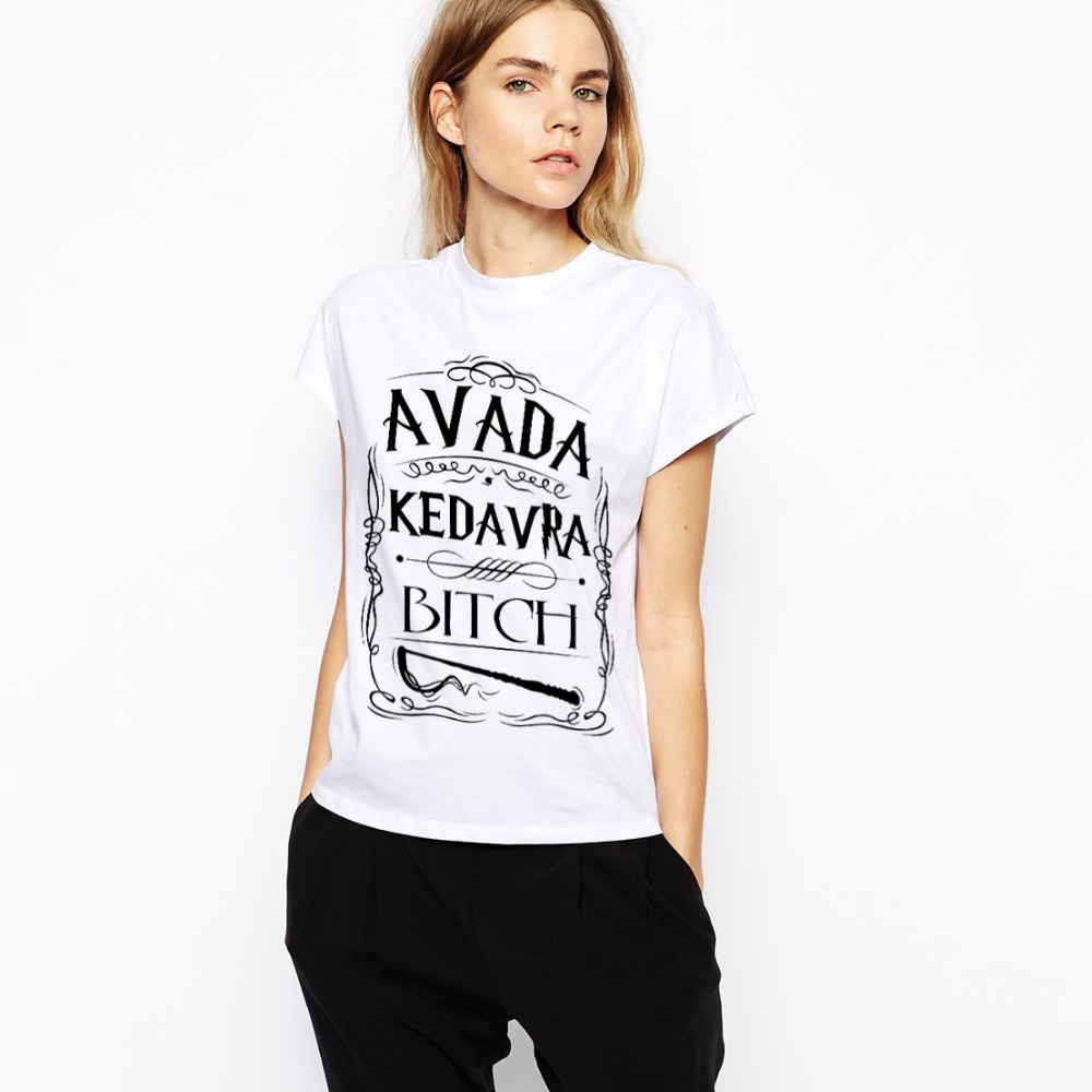 Harry potter spell avada kedavra wizard women t shirts for Wizard t shirt printing