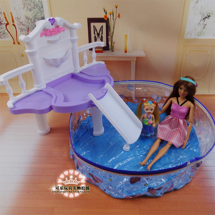 Doll's Swimming Pool Set / Dollhouse fashion Furniture Baby Toy Accessories Decoration Original Box for barbie Kurhn Doll(China (Mainland))