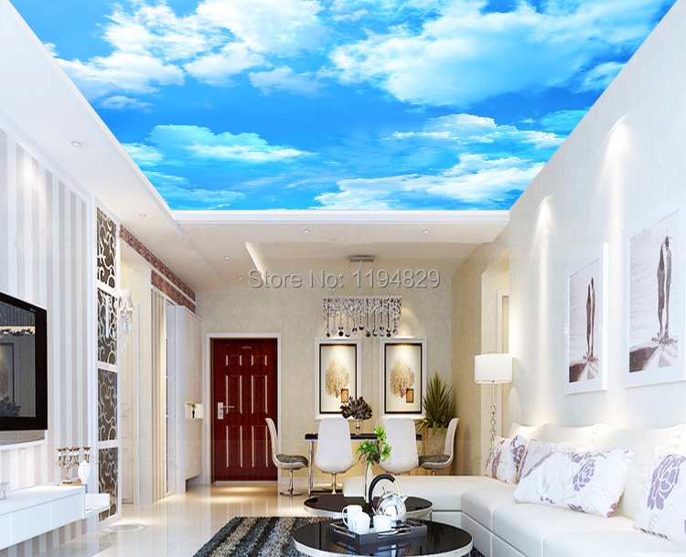 3d popular blue sky white cloud style wallpaper used for for 3d roof wallpaper