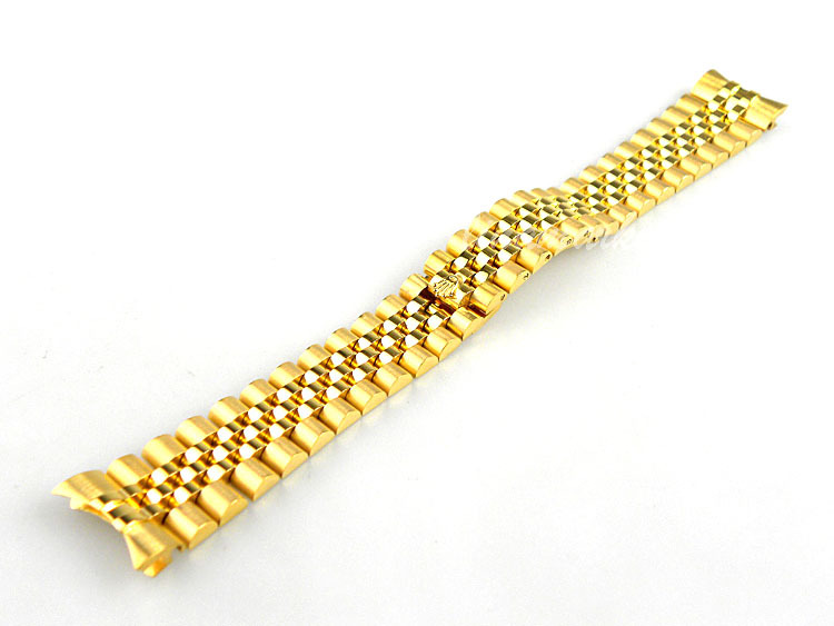 20mm New High Quality Pure Solid Stainless Steel Gold Plated 5 Links Watch Bands Bracelets Curved end Used for ROL23(China (Mainland))