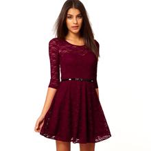 Ложка шеи 3/4 рукавом платье сексуальное отвесное кружева женщины платье платье для коктейля конькобежец женщин свободного покроя платье пояс включите Fit ну вечеринку платье [ A3008 ]
