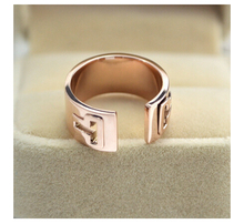 Double T letter 18K rose gold plated titanium steel ring openings couple models Ring not fade 1pc(China (Mainland))