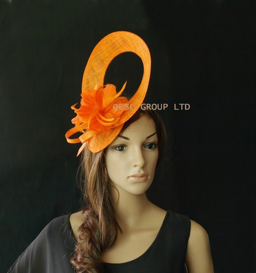 Orange Sinamay fascinator hat for Melbourne Cup,Ascot Races,kentucky derby,wedding.(China (Mainland))