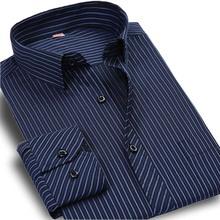 Плюс Размер 5XL 6XL Осень Новый 2016 Мужчины Рубашка в Полоску формальное Мода С Длинным Рукавом Марка Бизнес Мужчины Повседневная Рубашка Регулярный Fit(China (Mainland))