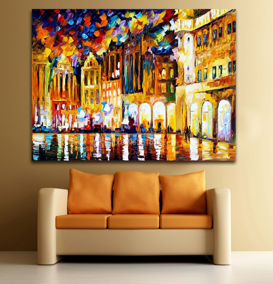 item Palette Knife Painting Belgium Denmark France Cityscape Architecture Picture Printed On Canvas For Home Office Wall