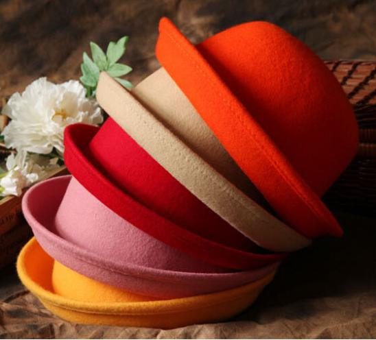 1 pc Unisex Autumn&Winter Woolen Hat Lady Small Dome Cap Basin Hat Vintage Bowler Hats Fedoras(China (Mainland))