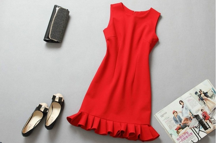 Beautiful Design Middle Length Red Trumpet Dress 2016 France Brand Clothing Summer Wear Cotton Spandex Pleated Mermaid Dress(China (Mainland))