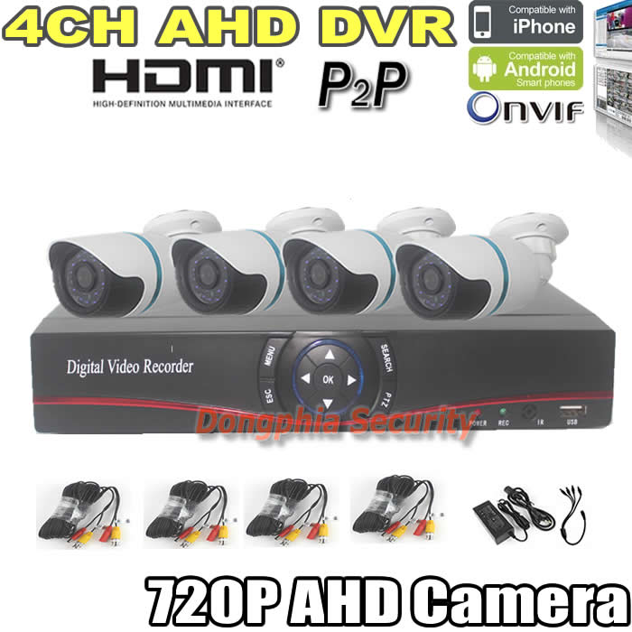 Hot Selling factory security camera system DIY 720P AHD DVR kit 4pcs 1.0mp waterproof cctv ahd cameras+1 pcs 4 channel AHD DVR(China (Mainland))