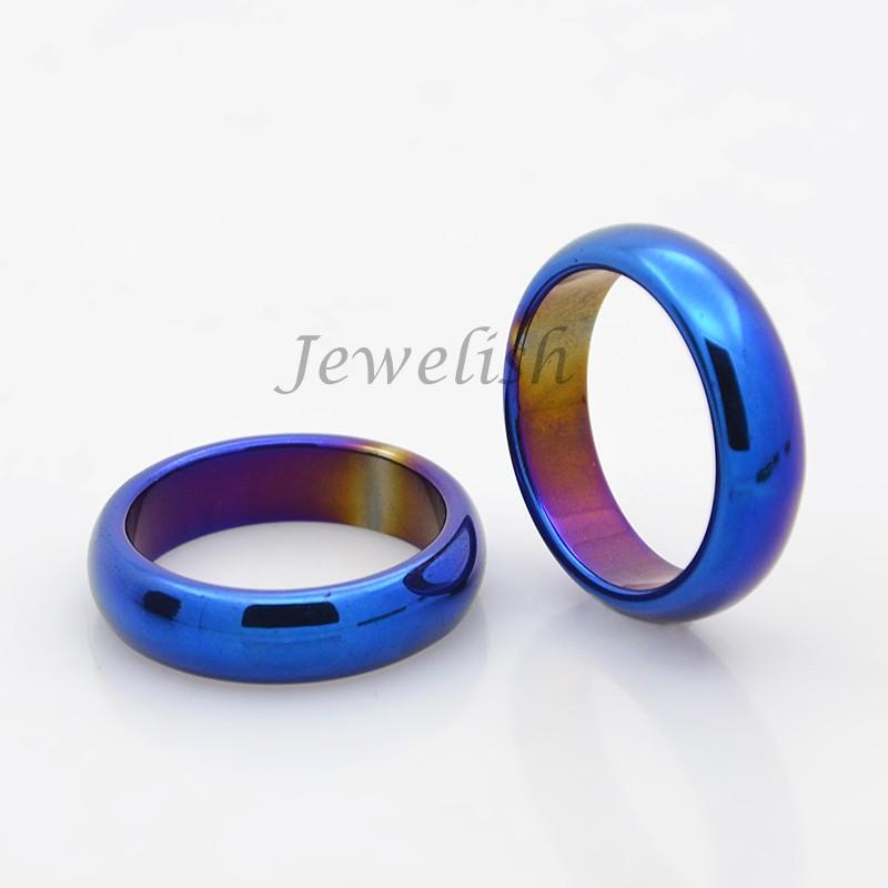 Electroplate Non-Magnetic Hematite Wide Band Rings, Blue Plated, 17mm(China (Mainland))