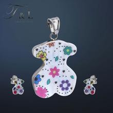 T&L Ceramic Colorful Resin Bear Jewelry Set Stainless Steel  Metal Beautiful Jewelry Set Vintage Valentine Jewelry(China (Mainland))