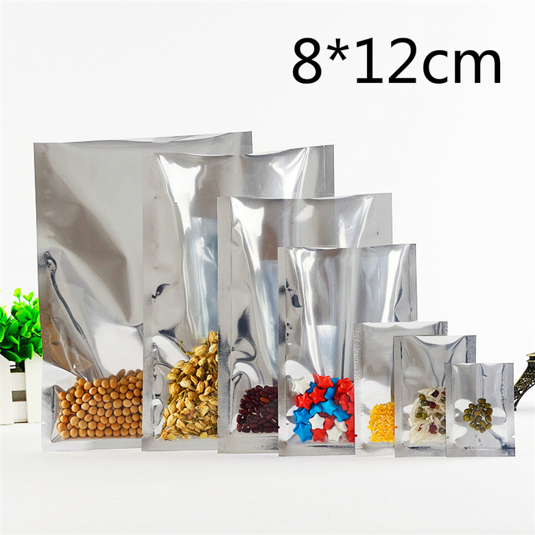 8*12cm 200Pcs/Lot Open Top Silver Aluminium Foil Clear Bag Heat Seal Vacuum Pouches Package Bag Food Storage Pack Packing Bags(China (Mainland))