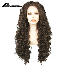 Buy Anogol Long Kinky Curly Lace Front Wig Glueless Synthetic Handmade High Temperature Heat Resistant Natural Hair Wigs Women for $40.68 in AliExpress store
