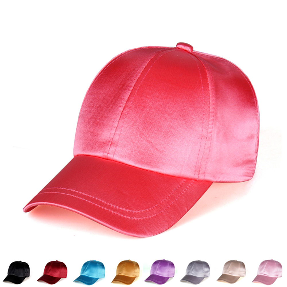 2016 High Quality Satin Cap Gorras Solid Color Silk Felling Hat Fashion Women Casual Baseball Hat Lady Snapback Sport Hiphop Cap(China (Mainland))