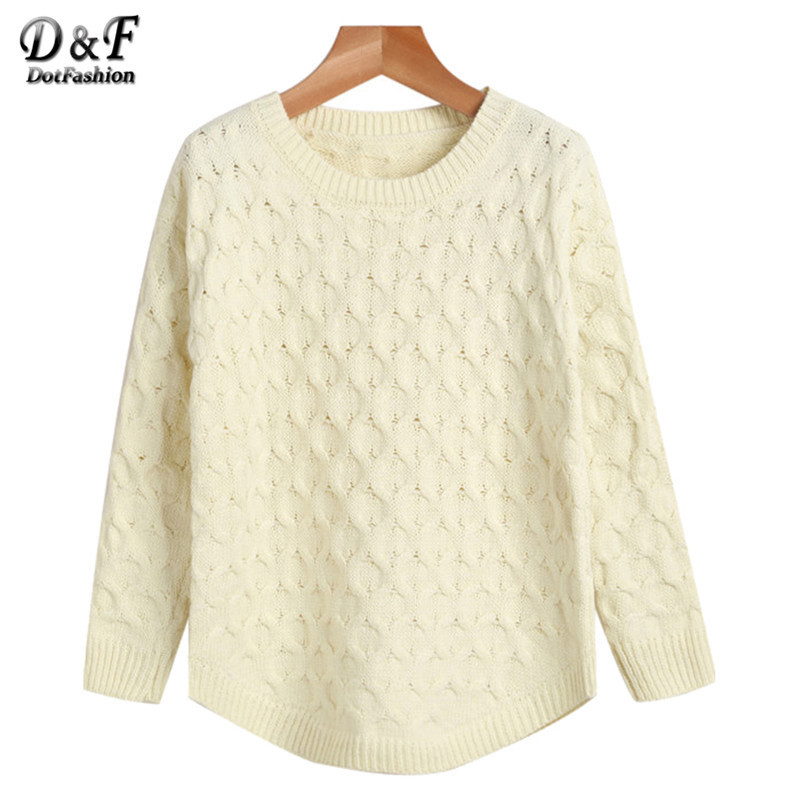 Pullover Women Winter Designer Clothes High Quality Knitwear Apricot Round Neck Long Sleeve Cable Knit Sweater(China (Mainland))
