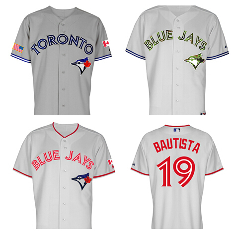19# Toronto Blue Jays Jose Bautista jersey 2015 Canada Day Memorial Day w/Commemorative Flag Patches baseball all Embroidery(China (Mainland))