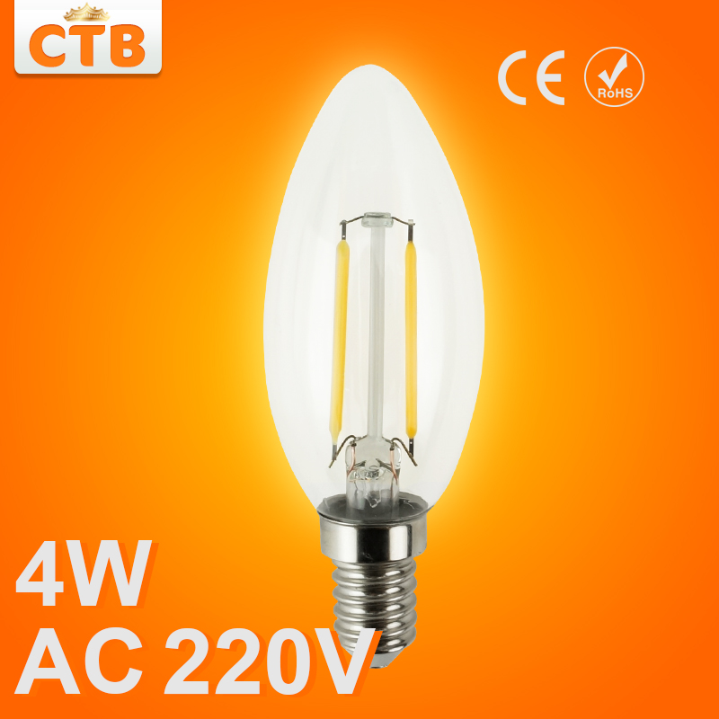 LED Candle Light E14 Filament Light Glass Lamp C35 C35L 220V 240V 4W 8W Bulb Antique Retro Vintage Edison Led(China (Mainland))