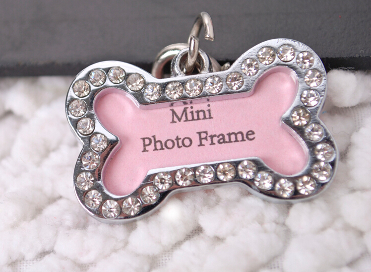 5016# Pet Collar Charm Dog ID Tag Dog Name Tag Rhinestone Accessories Bone Shaped Doggie Boutique Puppy Crystal Photo Frame 1pc(China (Mainland))