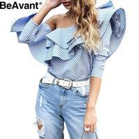 BeAvant Casual blue striped shirt 2016 autumn One shoulder ruffles blouse shirt women tops Long sleeve cool blouse winter blusas