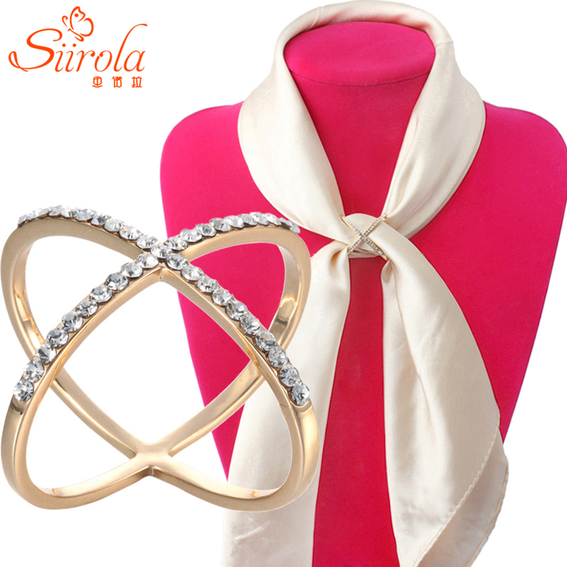 Fashion Woman Men High-grade Silver Gold plated Czech diamond Cross Letter H Brooches Pins Shawl Scarves Scarf buckle ring clips(China (Mainland))
