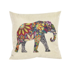 2016 New Arrival Fashion Cute Hot Style European Creative Synthesis Of Linen Pillow Cases Colorful Elephants(China (Mainland))