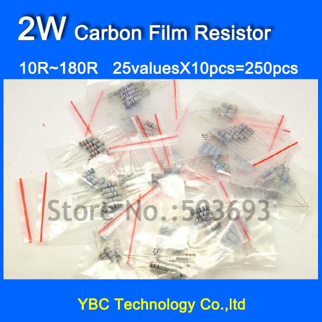 2W 25valuesX10pcs=250pcs Carbon Film Resistor Kit 10R~180R Resistor Pack  5% Torlerance Free Shipping