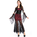 Gothic Vampires Costume New Adult Women Halloween Cosplay Lace Patchwork Fancy Long Dress Devil Maleficent Witch