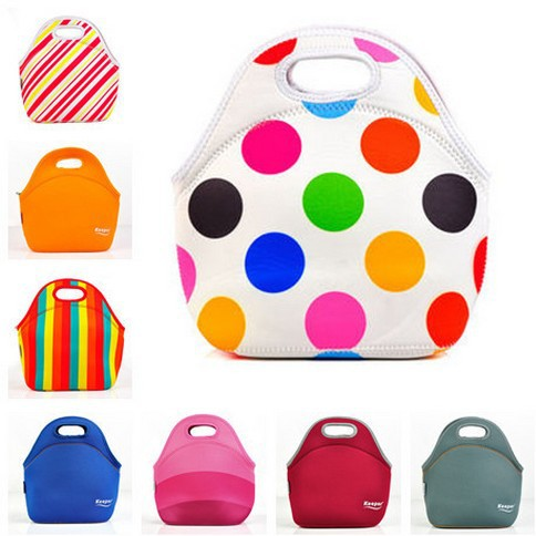 Zipper Neoprene Lunch Bags Thermal Insulated Neoprene lunch Bag For Women Kids Food Bag Tote Cooler lunch box 8 Color lunchboxes(China (Mainland))