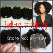 6A Grade Virgin Mongolian Kinky Curly Hair Weave Hair Extension and closure Free Shipping